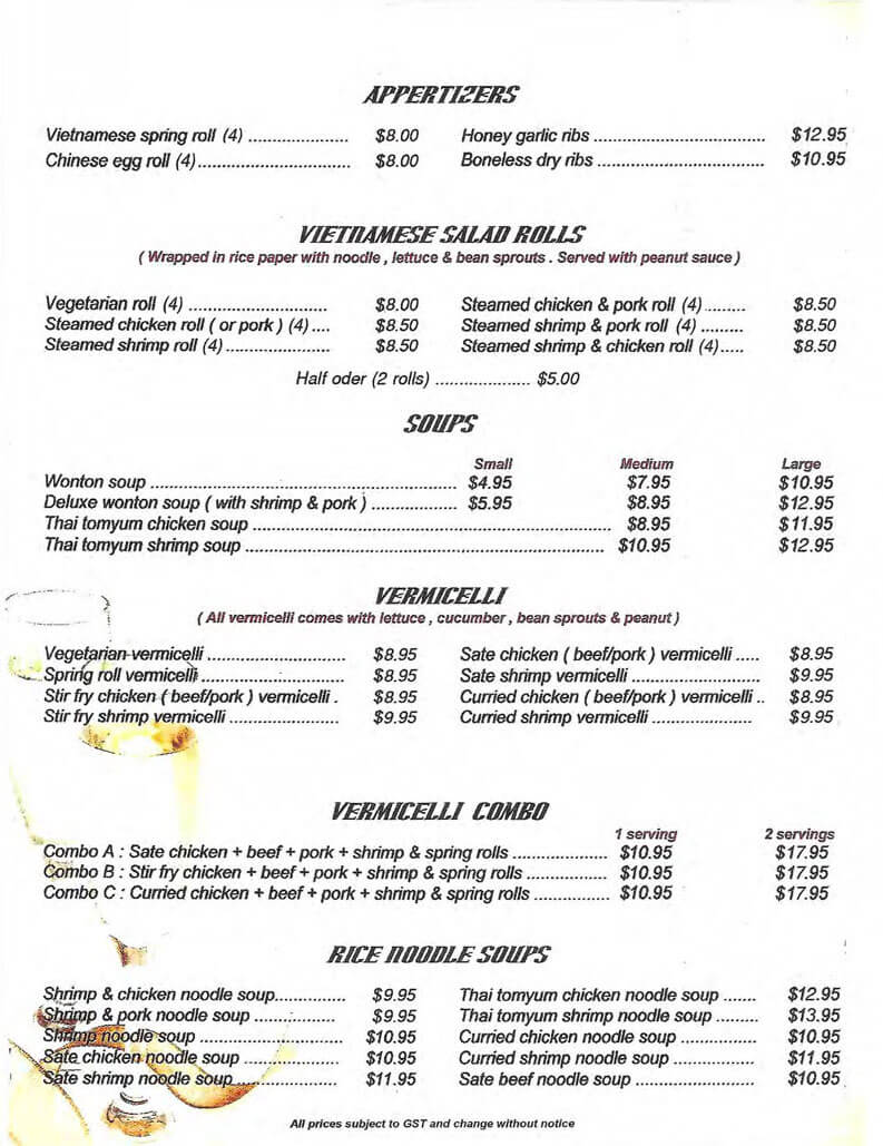 Menu | Chinese & Vietnamese Food | Spring Roll, Chow Mein, Fried ...